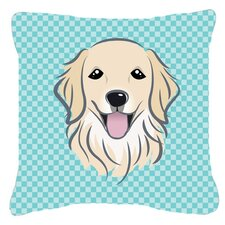 Checkerboard Golden Retriever Indoor/Outdoor Throw Pillow
