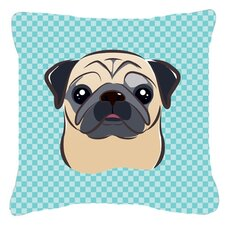 Checkerboard Fawn Pug Indoor/Outdoor Throw Pillow