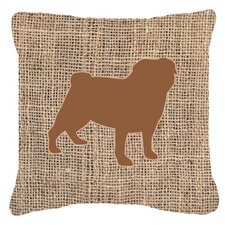 Pug Burlap Indoor/Outdoor Throw Pillow