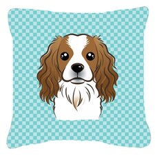 Checkerboard Cavalier Spaniel Indoor/Outdoor Throw Pillow