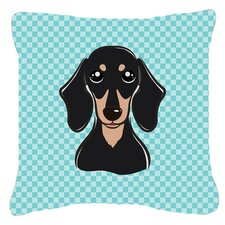 Checkerboard Smooth Black and Tan Dachshund Indoor/Outdoor Throw Pillow