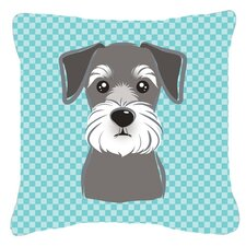 Checkerboard Schnauzer Indoor/Outdoor Throw Pillow