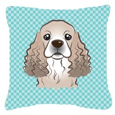 Checkerboard Cocker Spaniel Indoor/Outdoor Throw Pillow