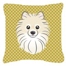 Tan Checkered Pomeranian Indoor/Outdoor Throw Pillow