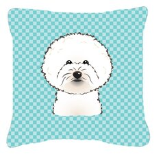 Checkerboard Bichon Frise Indoor/Outdoor Throw Pillow