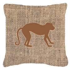Monkey Burlap Indoor/Outdoor Throw Pillow