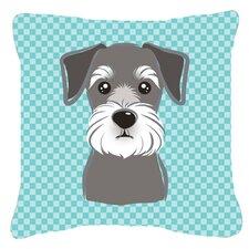 Checkered Schnauzer Indoor/Outdoor Throw Pillow