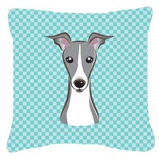 Checkerboard Italian Greyhound Indoor/Outdoor Throw Pillow