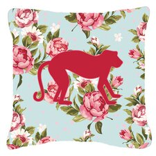 No Copoun Monkey Shabby Elegance Blue Roses Indoor/Outdoor Throw Pillow