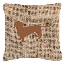 Savings Dachshund Burlap Indoor/Outdoor Throw Pillow