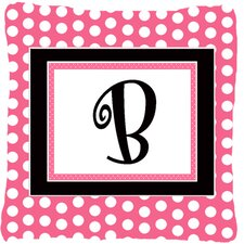 Letter Initial Monogram Pink Black Polka Dots Indoor/Outdoor Throw Pillow
