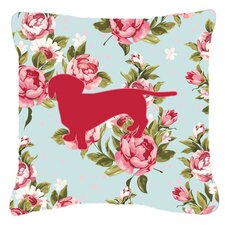 Dachshund Shabby Elegance Blue Roses Indoor/Outdoor Throw Pillow