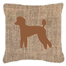 Poodle Burlap Indoor/Outdoor Throw Pillow