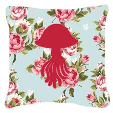 Jellyfish Shabby Elegance Blue Roses Indoor/Outdoor Throw Pillow