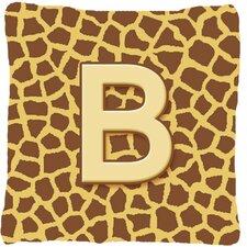Monogram Initial Giraffe Indoor/Outdoor Throw Pillow