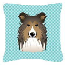 Checkerboard Sheltie Indoor/Outdoor Throw Pillow