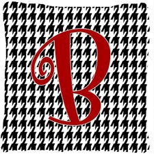 Monogram Initial Houndstooth Black Indoor/Outdoor Throw Pillow