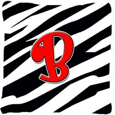 Monogram Initial Zebra Indoor/Outdoor Throw Pillow