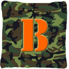 Monogram Initial Camo Indoor/Outdoor Throw Pillow
