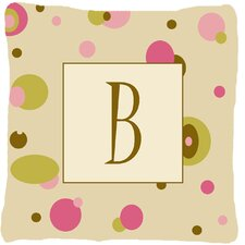 Monogram Initial Tan Dots Indoor/Outdoor Throw Pillow
