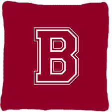 Monogram Initial Maroon and White Indoor/Outdoor Throw Pillow