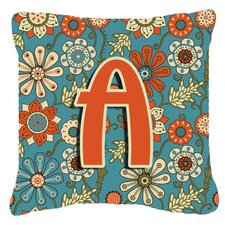 Letter Flowers Retro Monogram Indoor/Outdoor Throw Pillow
