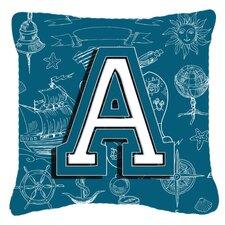 Monogram Initial Sea Doodles Indoor/Outdoor Throw Pillow