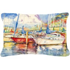 Three Boats Sailboats Indoor/Outdoor Throw Pillow