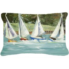 Sailboats on The Bay Indoor/Outdoor Throw Pillow