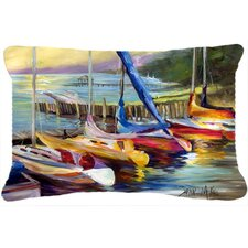 Sailboats at Sunset Indoor/Outdoor Throw Pillow