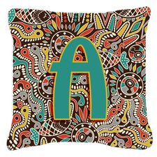 Letter Retro Tribal Monogram Indoor/Outdoor Throw Pillow