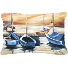 Beach View with Sailboats Indoor/Outdoor Throw Pillow