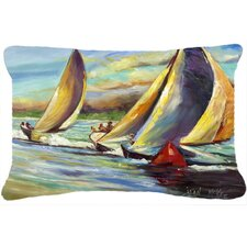 Knost Regatta Pass Christian Sailboats Indoor/Outdoor Throw Pillow