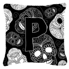 Letter Day of The Dead Skulls Black Indoor/Outdoor Throw Pillow