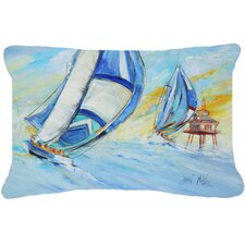 Sailboats and Middle Bay Lighthouse Indoor/Outdoor Throw Pillow