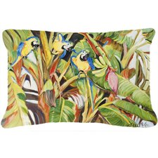 Three Blue Parrots Indoor/Outdoor Throw Pillow