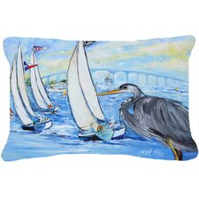 Blue Heron Sailboats Dog River Bridge Indoor/Outdoor Throw Pillow
