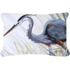 Blue Heron Frog Hunting Indoor/Outdoor Throw Pillow