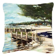 At The Pier Sailboats Indoor/Outdoor Throw Pillow
