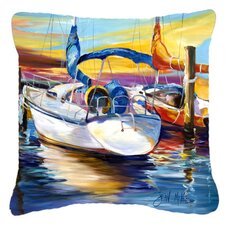Symmetry Again Sailboats Indoor/Outdoor Throw Pillow