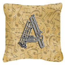 Monogram Initial Musical Instrument Indoor/Outdoor Throw Pillow