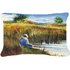 Fisherman on The Bank Indoor/Outdoor Throw Pillow