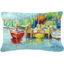 Spacial Price On The Dock Sailboats Indoor/Outdoor Throw Pillow