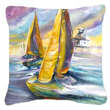 Middle Bay Lighthouse Sailboats Indoor/Outdoor Throw Pillow