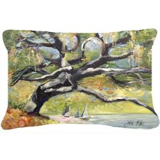 Oak Tree on The Bay with Sailboats Indoor/Outdoor Throw Pillow