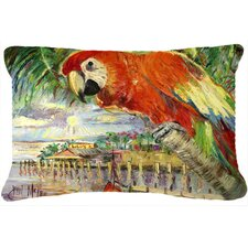 Red Parrot at Lulu's Indoor/Outdoor Throw Pillow