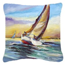 Horn Island Boat Race Sailboats Indoor/Outdoor Throw Pillow