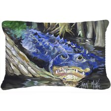 Blue Alligator Indoor/Outdoor Throw Pillow