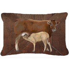 Find Cow Momma and Baby Indoor/Outdoor Throw Pillow