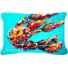 Lucy The Crawfish in Blue Indoor/Outdoor Throw Pillow